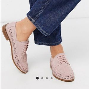 ASOS pink suede woven lace up oxfords 7